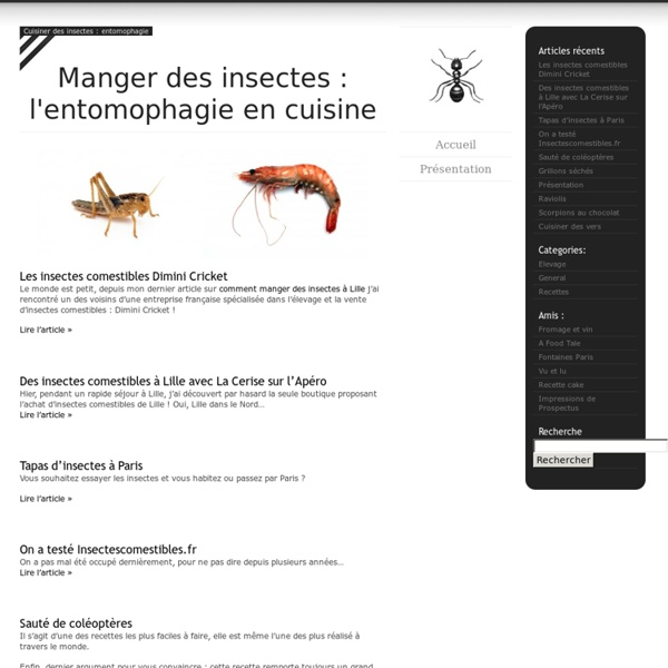 Cuisiner des insectes : entomophagie