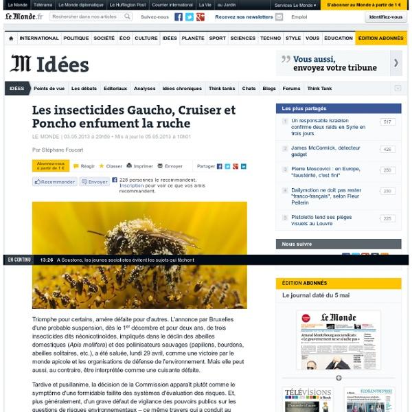 LE MONDE 03/05/13 Les insecticides Gaucho, Cruiser et Poncho enfument la ruche