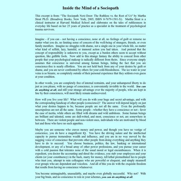 Inside the Mind of a Sociopath