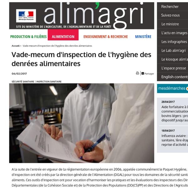 MAAF 09/08/16 Vade-mecum d'inspection de l'hygiène des denrées alimentaires