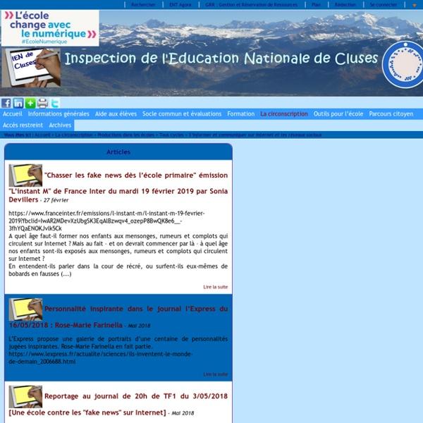 Inspection de l'Education Nationale de Cluses - S'informer et communiquer sur internet et les réseaux sociaux
