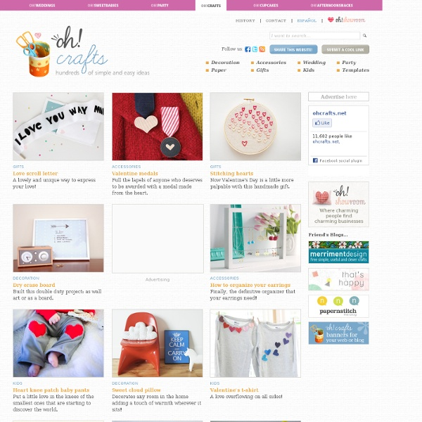 Inspiration and original craft ideas for weddings, parties, children, such as home decoration, gifts, cards, personal accessories and templates