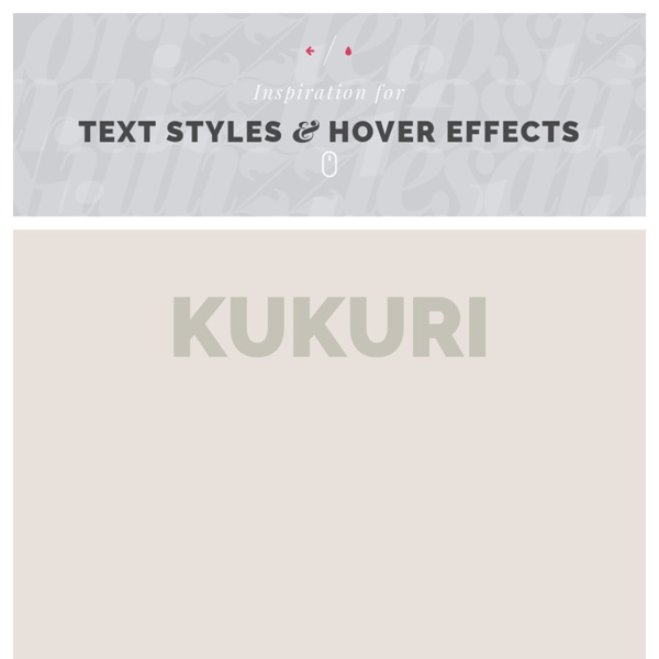 Inspiration for Text Styles and Hover Effects