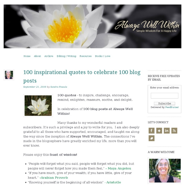 100 inspirational quotes to celebrate 100 blog posts