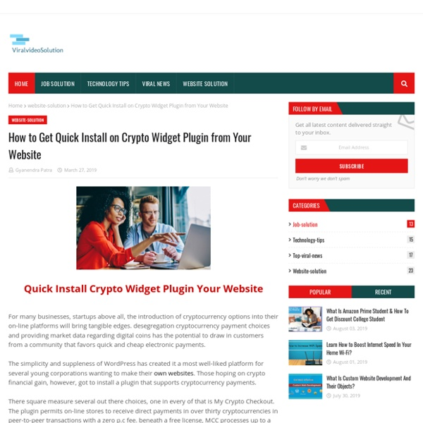 How to Get Quick Install on Crypto Widget Plugin from Your Website