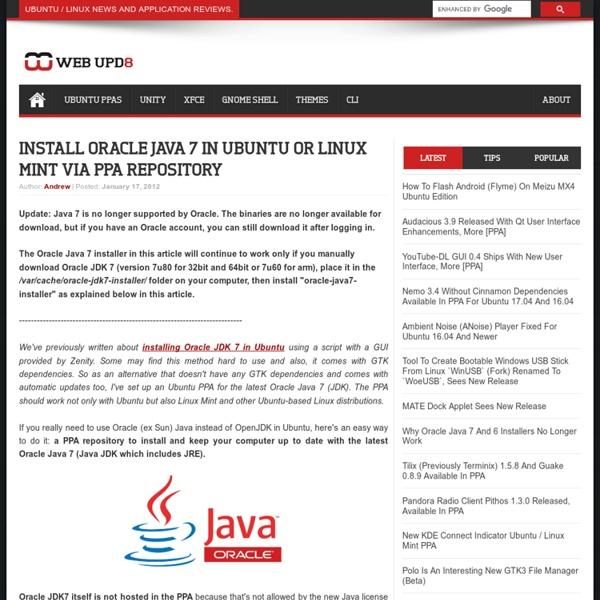 Install Oracle Java 7 in Ubuntu via PPA Repository