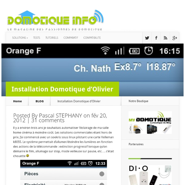 Installation Domotique d'Olivier