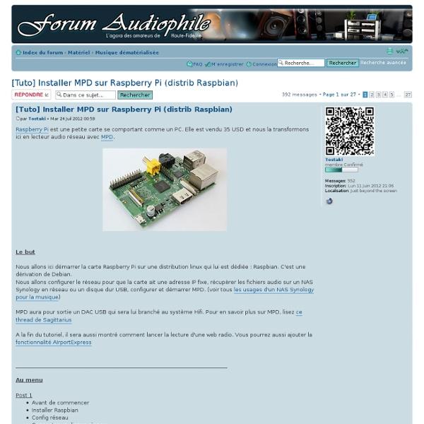 [Tuto] Installer MPD sur Raspberry Pi (distrib Raspbian)