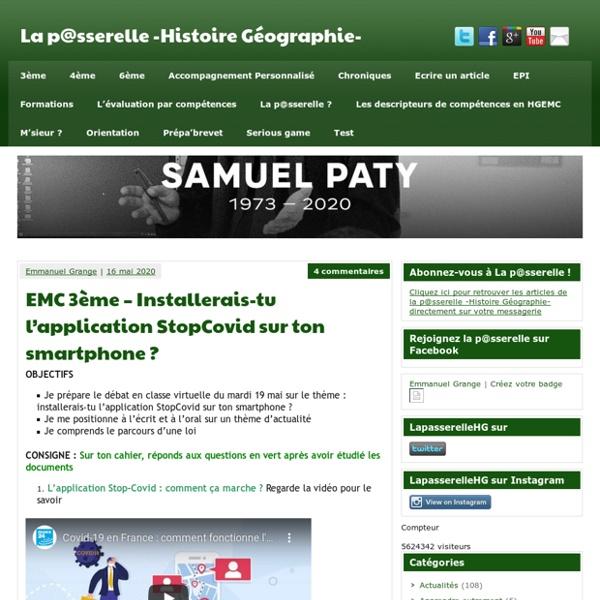 EMC 3ème - Installerais-tu l'application StopCovid sur ton smartphone ? - La p@sserelle -Histoire Géographie-
