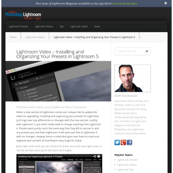Lightroom Video – Installing and Organizing Your Presets in Lightroom 5