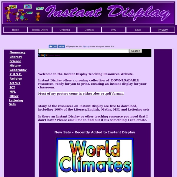 Instant Display Teaching Resources,,Free and Low Cost Teaching Resources