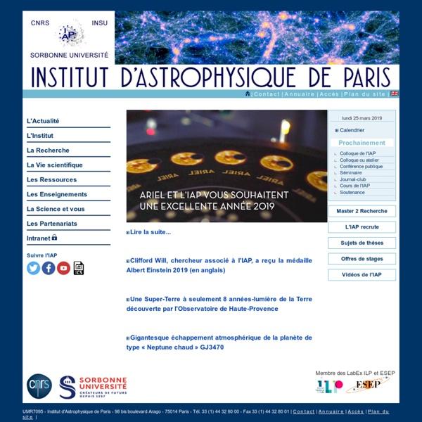 Institut Astrophysique de Paris : page d'accueil