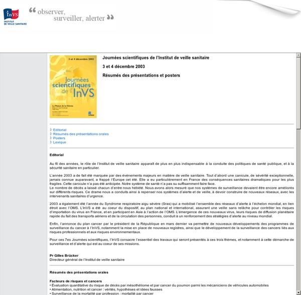INVS 09/12/03 Journées scientifiques de l'Institut de veille sanitaire - 3 et 4 décembre 2003 - Résumés des présentations et posters - Au sommaire : Huîtres et toxi-infections alimentaires collectives à norovirus, France, décembre 2002