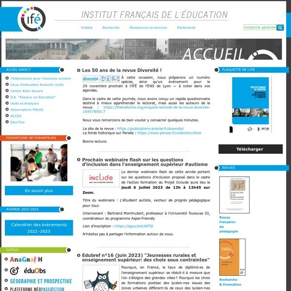 Site de l'Institut Français de l'Education - ifé
