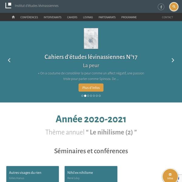 Institut d'études lévinassiennes - étudier Emmanuel Lévinas