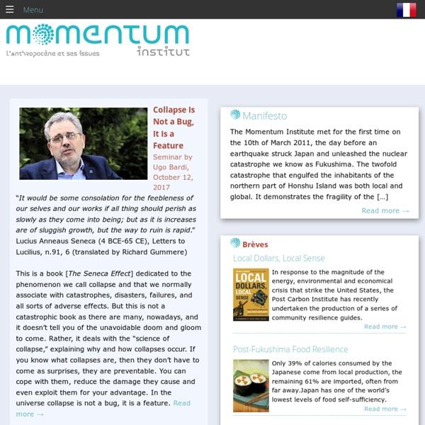 Institut Momentum - L'anthropocène et ses issues