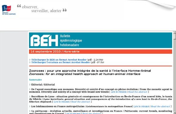 INVS 14/09/10 Zoonoses : pour une approche intégrée de la santé à l'interface Homme-Animal