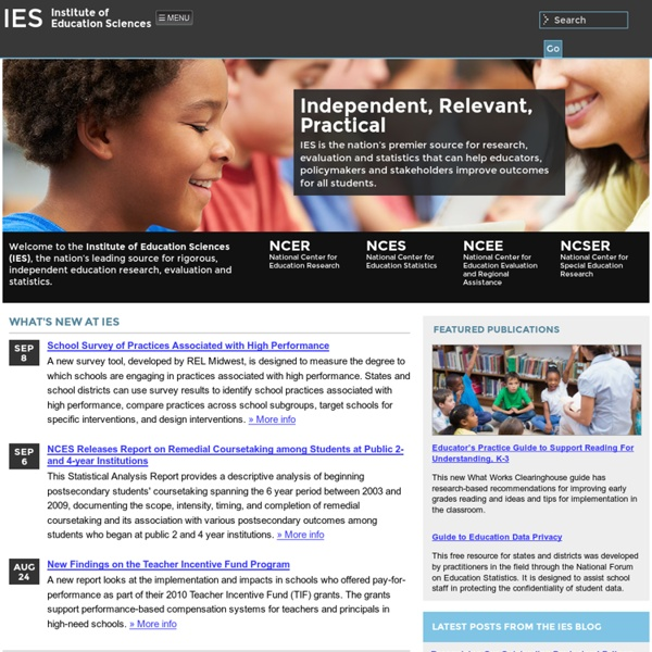 Institute of Education Sciences (IES) Home Page, a part of the U.S. Department of Education