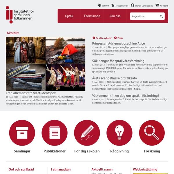 Institutet för språk och folkminnen - Institutet för språk och folkminnen