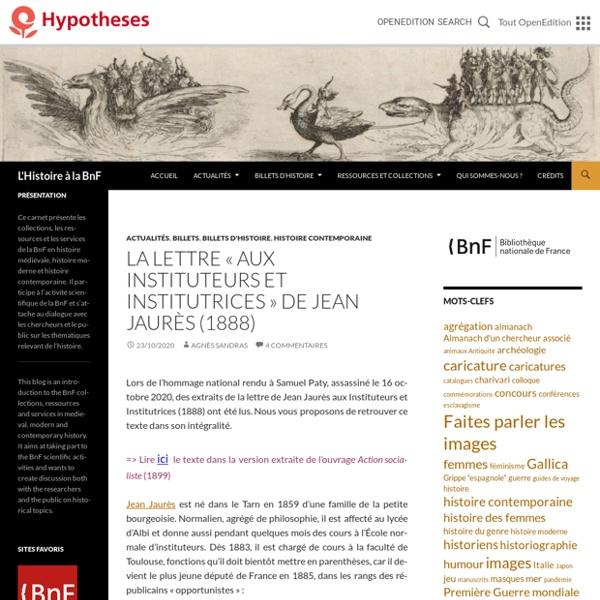 La lettre « aux Instituteurs et Institutrices » de Jean Jaurès (1888)
