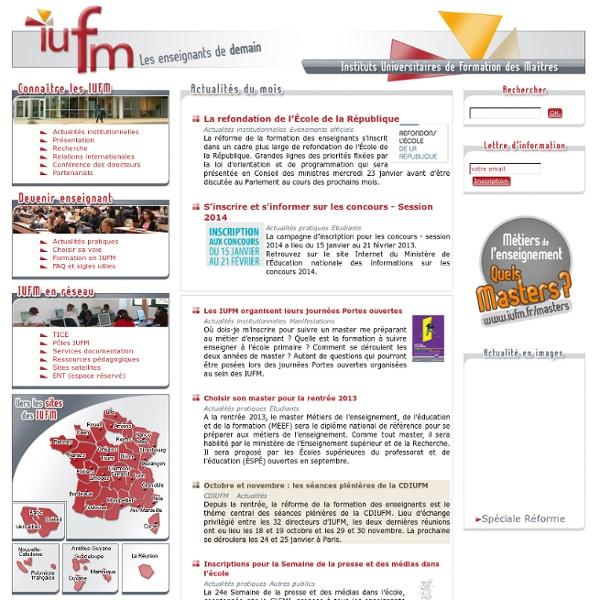 Portail des IUFM (Instituts Universitaires de Formation des Ma?tres)