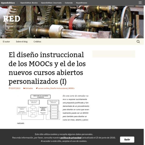Zapata - Ros, M. (2013). El diseño instruccional de los MOOCs y el de los nuevos cursos abiertos personalizados (I). RED El aprendizaje en la Sociedad del Conocimiento.