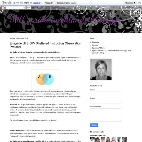 En guide till SIOP- Sheltered Instruction Observation Protocol
