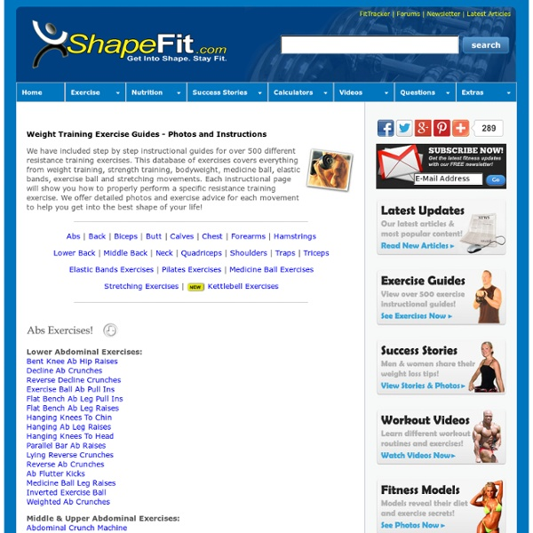 Exercise Guides - Photos and Instructions for Over 500 Exercises