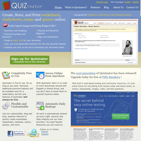 Teacher Resources: Quizinator for Teachers, Instructors, and HomeSchoolers