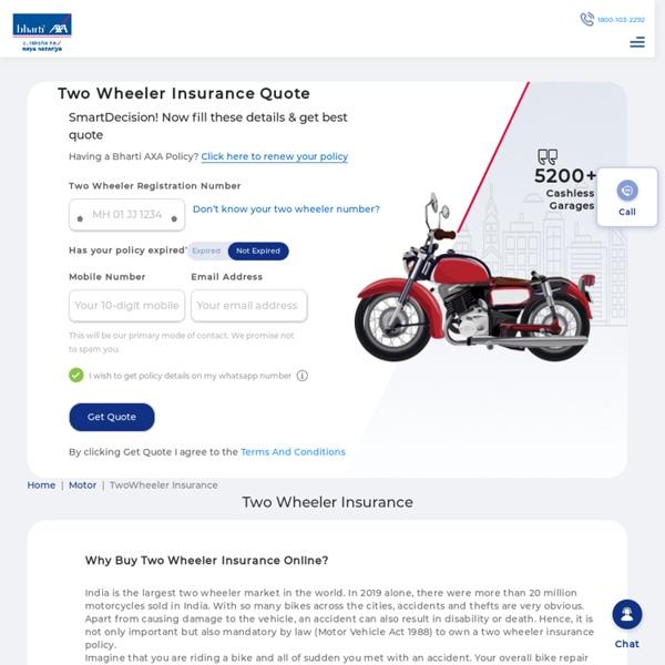Two Wheeler Insurance: Buy or Renew Bike Insurance Policy Online