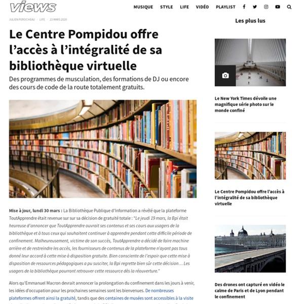 Lecture - Le Centre Pompidou offre l'accès à l'intégralité de sa bibliothèque virtuelle - Views