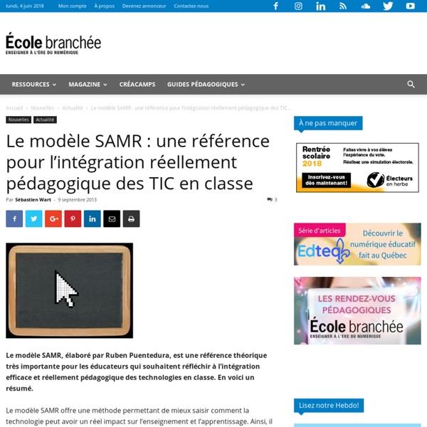 Le modèle SAMR : une référence pour l'intégration réellement pédagogique des TIC en classe