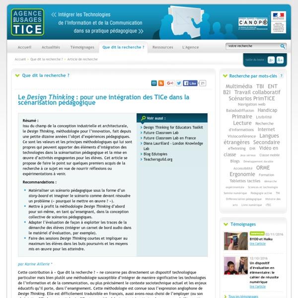 L'Agence nationale des Usages des TICE - Le <i>Design Thinking</i> : pour une intégration des TICe dans la scénarisation pédagogique