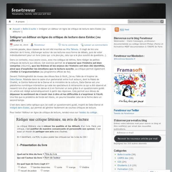 Intégrer un éditeur en ligne de critique de lecture dans Esidoc (ou ailleurs !) – fenetresur