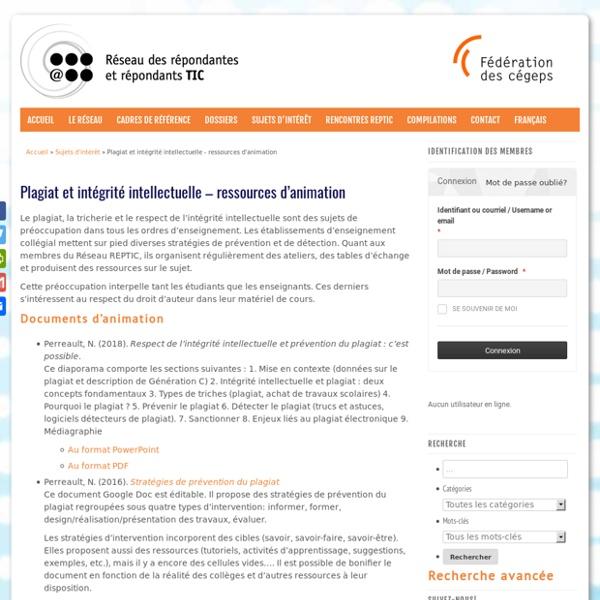 Plagiat et intégrité intellectuelle – ressources d'animation