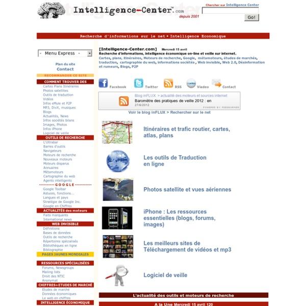 Intelligence Center : Veille - Recherche d'informations sur le net-Intelligence économique