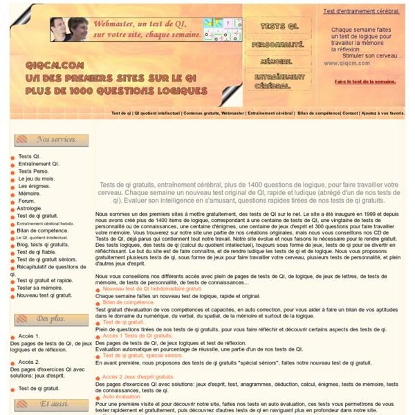 Test de qi gratuit, test d'intelligence, tests de QI et tests de personnalité gratuits, Q.I TEST MEMOIRE, IQ précocité
