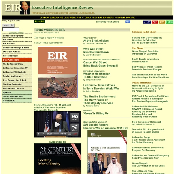 Executive Intelligence Review - LaRouche Publications