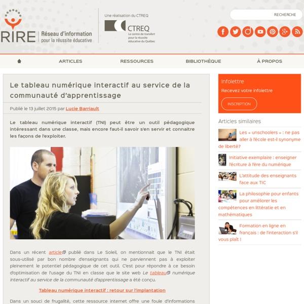 Le tableau numérique interactif au service de la communauté d'apprentissage