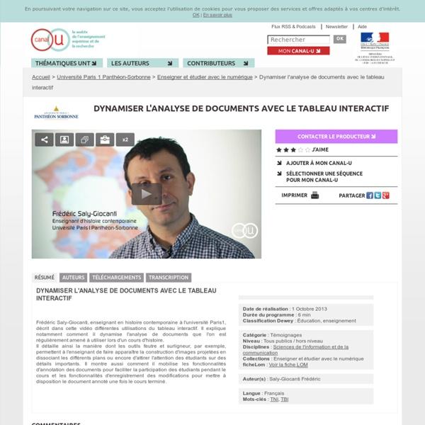 Dynamiser l'analyse de documents avec le tableau interactif - Université Paris 1 Panthéon-Sorbonne