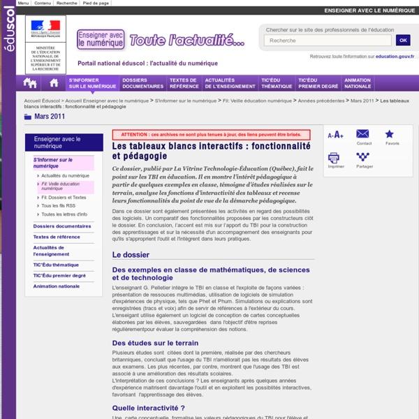 Les tableaux blancs interactifs : fonctionnalité et pédagogie — Éducnet