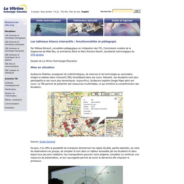 Les tableaux blancs interactifs: fonctionnalit?s et p?dagogie