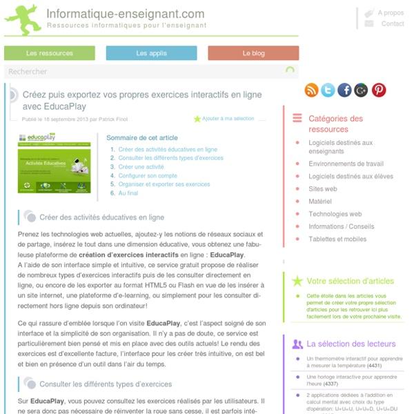 Créez puis exportez vos propres exercices interactifs en ligne avec EducaPlay - Informatique-Enseignant.com