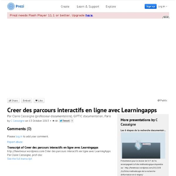 Creer des parcours interactifs en ligne avec Learningapps by C Cassaigne on Prezi