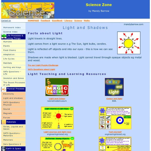 Science Light And Shadows Light And Shadows Interactive