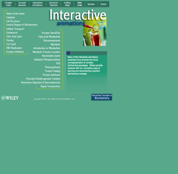 Interactive Concepts in Biochemistry - Interactive Animations