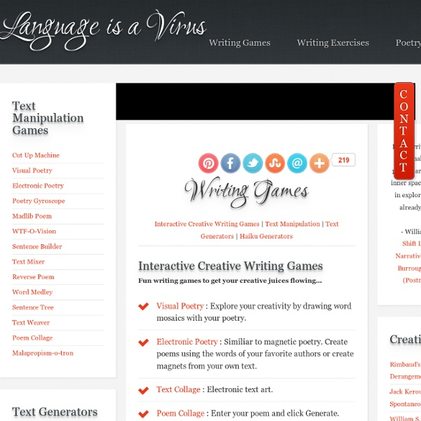 Interactive Creative Writing Games and Gizmos
