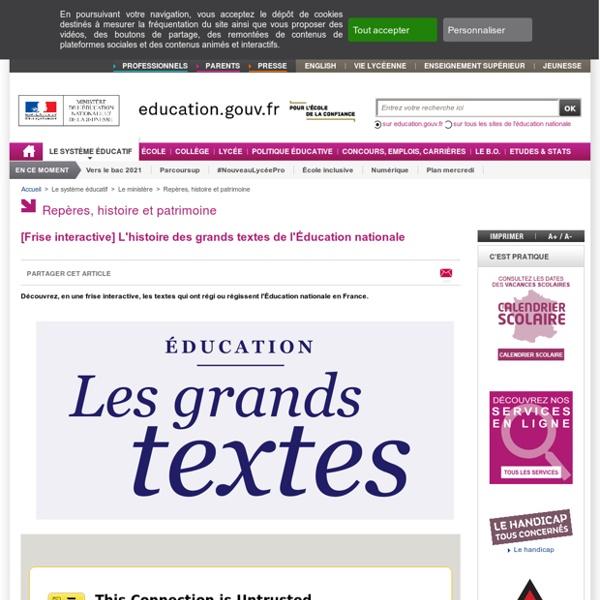 [Frise interactive] L'histoire des grands textes de l'Éducation nationale