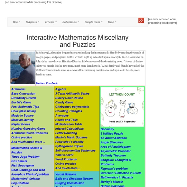 Interactive Mathematics Miscellany and Puzzles