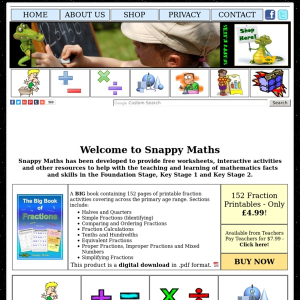 Snappy Maths - Free worksheets and interactive mathematics resources for primary/elementary education.